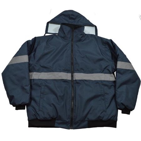Petra Roc NVBJ-S1-L Enhanced Visibility Navy Blue Quilted Bomber Jacket, Large