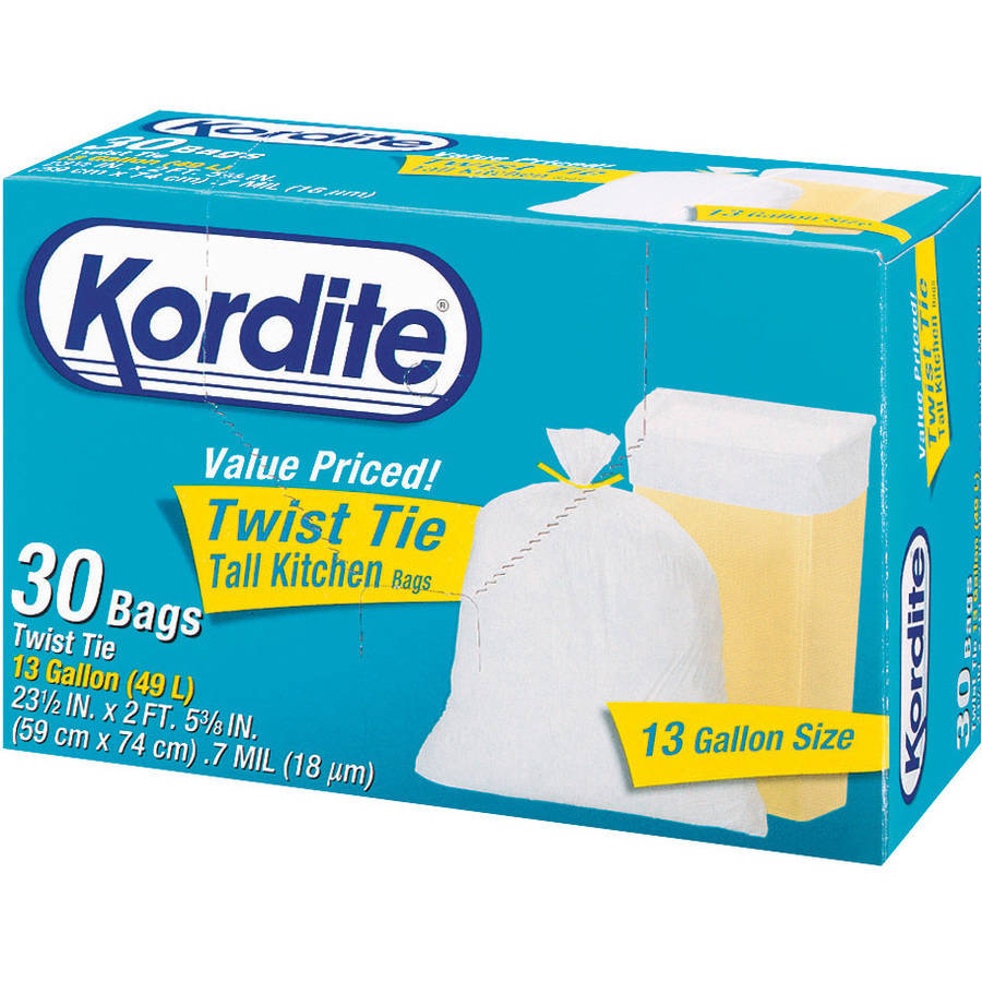 Kordite 13 Gallon Twist Tie Tall Kitchen Bags, 30 count