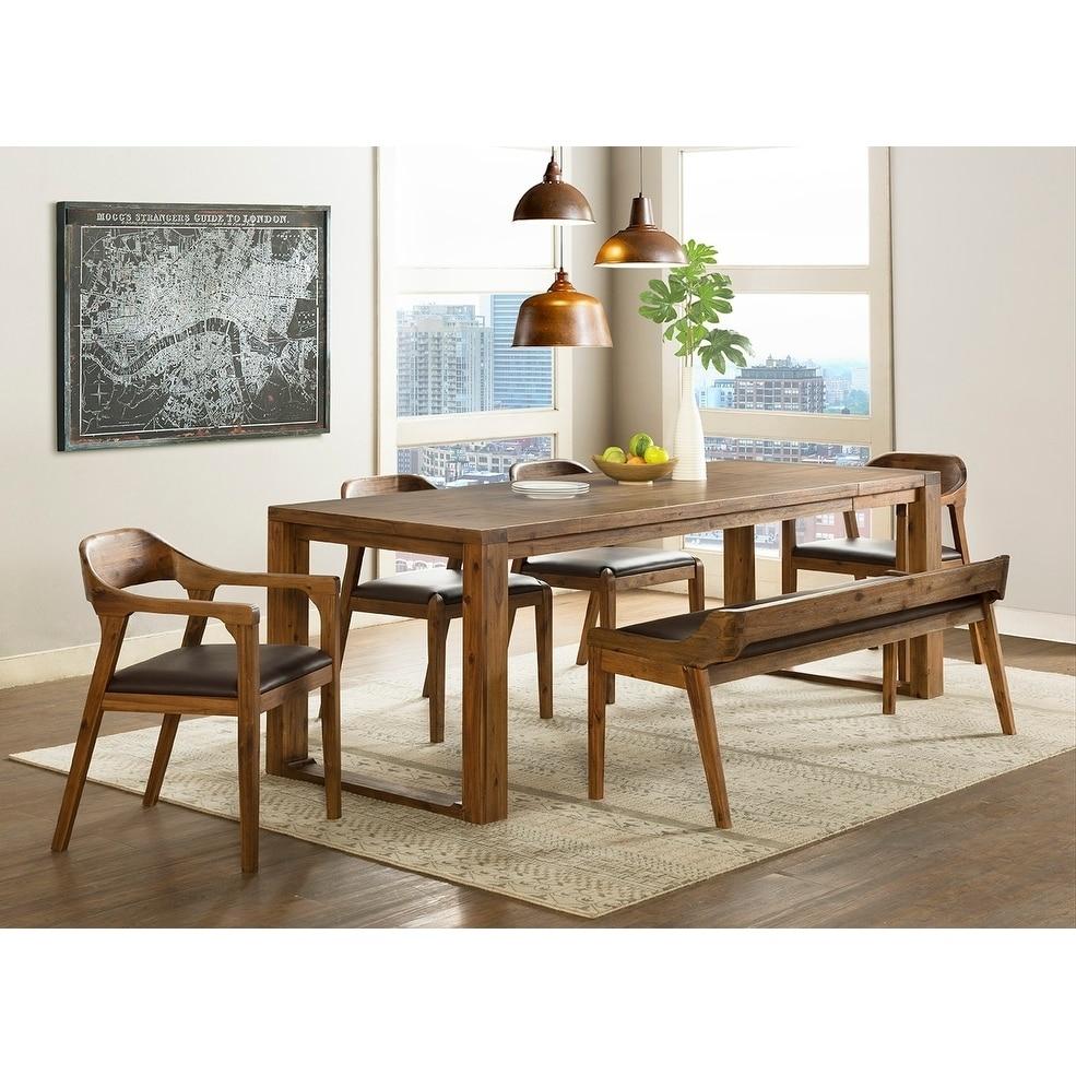 Brilliant Rasmus Mid Century Wood 6 Piece Dining Set Dining Bench 2 Arm Chairs 2 Side Chairs Walmart Com Machost Co Dining Chair Design Ideas Machostcouk
