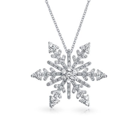 Cubic Zirconia Snowflake Pendant - Holiday Branch Micro Pave Cubic Zirconia Christmas Snowflake Pendant Necklace For Women For Teen Plated Silver