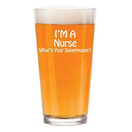 16 oz Beer Pint Glass Nurse Super (Mib Glasses)
