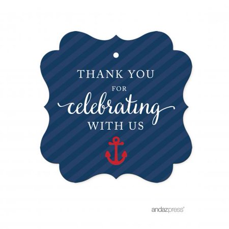 Nautical Baby Shower Supplies (Thank You For Celebrating With Us! Navy Blue Nautical Baby Shower Fancy Frame Gift Tags,)