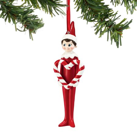 Dept56 Elf On The Shelf Candy Cane Heart Ornament - Candy Cane Heart