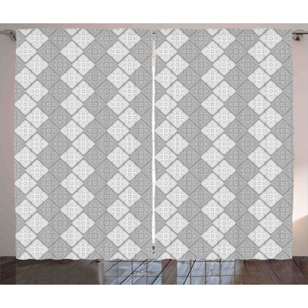 - Damask Curtains 2 Panels Set, Victorian Style Ornamental Oriental Figure Retro Indian Mosaic Art Tiles Abstract Image, Window Drapes for Living Room Bedroom, 108W X 84L Inches, Dimgray, by Ambesonne