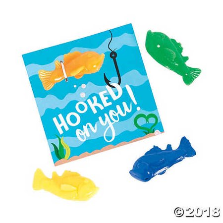 Hooked on You Valentine Fish with Cards](Fish Valentine)