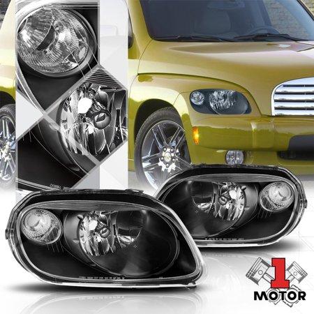 Black Housing Headlight Lamp Clear Turn Signal Reflector for 06-11 Chevy HHR 07 08 09 10