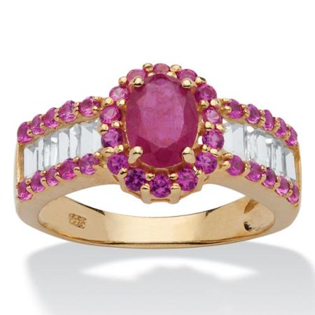 3.15 TCW Oval-Cut Genuine Ruby and White Topaz Ring in 14k Gold over Sterling Silver