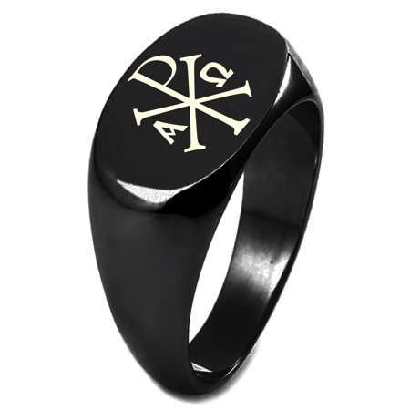 Chi Omega Block - Black IP Plated Sterling Silver Chi Rho Alpha Omega Symbol Engraved Oval Flat Top Polished Ring