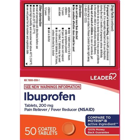 Leader Ibuprofen Coated Tablets, 200mg, 50ct 096295132175A256
