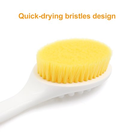 White Soft Bristle Curved Handle Bath Shower Body Cleansing Brush Massage Scrub - image 1 de 6