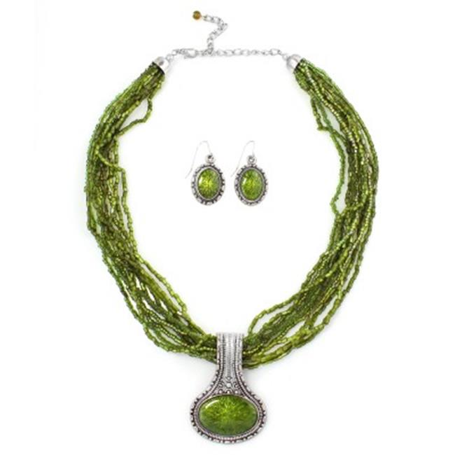 C Jewelry Olive Beads Pendant Necklace And Earring Set