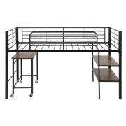 Low Loft Bed for Kids, Heavy Duty Metal Twin Loft Bed with Desk and Shelves, Black