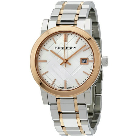 Burberry Large Check Silver Dial Silicone Strap Unisex Watch (Unisex Silver Dial)