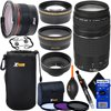 Canon EF 75-300mm f/4-5.6 III Telephoto Zoom Lens for SLR Cameras + Fisheye Lens + Telephoto & Wide Angle Lenses + 3pc Filter + 7pc Accessory Kit w/ HeroFiber Cleaning Cloth This kit includes 15 items, Lens includes manufacturer's supplied accessories Canon EF 75-300mm f/4-5.6 III Telephoto Zoom Lens for Canon EOS 7D, 7D Mark II, 40D, 60D, 70D, 77D, 80D, Rebel SL1, T1i, T2i, T3, T3i, T4i, T5, T5i, T6, T6i, T6s, XS, XSi, XT & XTi Digital SLR CamerasXtech 58mm 0.35x Pro MC Full HD Fisheye Lens with Macro Lens Portion & Case, High Definition Wide Angle & Telephoto Lens Set with Pouches, UV (Ultraviolet) Protection Filter, CPL (Circular Polarizer) Filter, FL-D (Fluorescent) Filter, Filter CaseXtech 3 in 1 Collapsible design Soft Rubber Lens Hood - Xtech Pull String Closer Neoprene Soft Lens Pouch with Clip & Belt Loop - Xtech 2 in 1 Lens Cleaning Pen (brush & spray)Xtech Dust Cleaner Blower - 2 Xtech Universal Lens Cap Keepers - HeroFiber® Ultra Gentle Cleaning Cloth (the most effective way to clean all optical surfaces)
