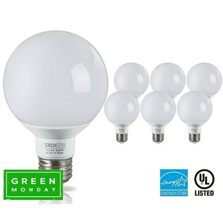 TORCHSTAR G25 Globe LED Light Bulb, Vanity Light Bulbs, 5W (40W Equiv.) 3000K Warm White E26 Medium Base, Pack of 6 40w White Globe Bulb