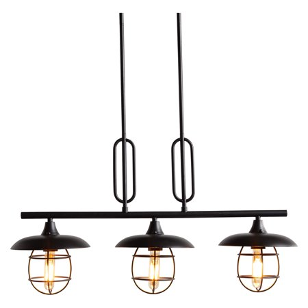MoDRN Industrial Metal Wire 3 Light Island Pendant Black Finish