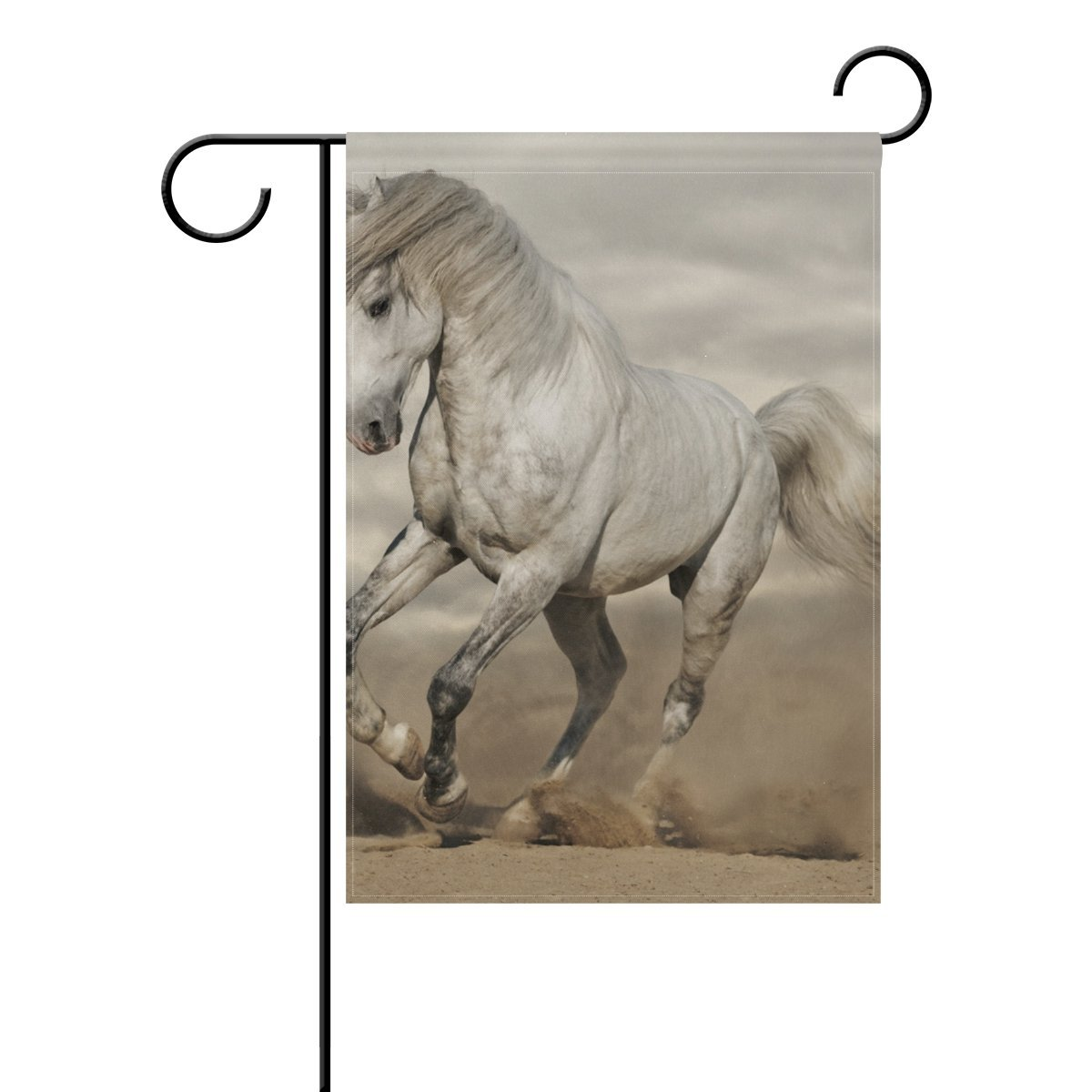 POPCreation White Beauty Horse Polyester Garden Flag Outdoor Flag Home  Party Garden Decor 28x40 Inches