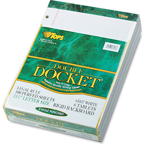 TOPS Docket 3-hole Punched Legal Ruled Legal Pads - 100 Sheets - Printed - Double Stitched - 16 lb Basis Weight - 8.50""
