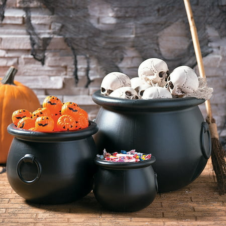 Halloween Cauldron Spells (Fun Express - Black Plastic Cauldrons (set Of 3) for Halloween - Home Decor - Decorative Accessories - Home Accents - Halloween - 3)