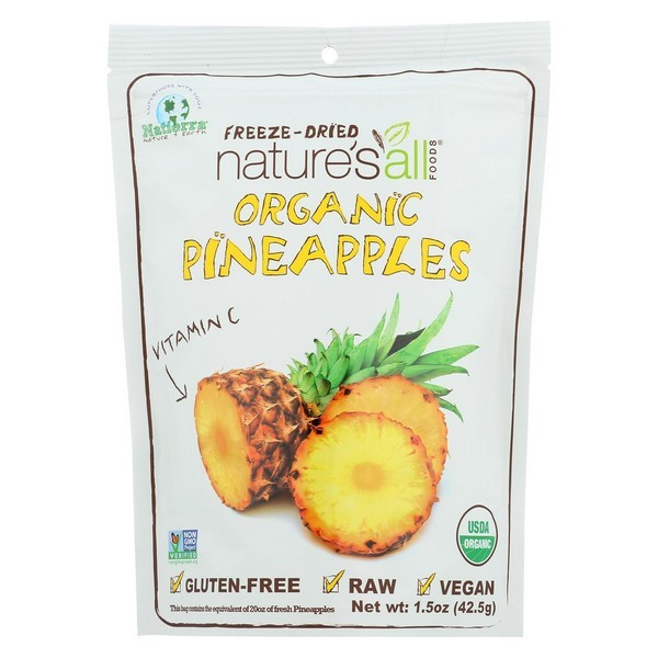 Natierra Freeze Dried Pineapples Case Of 12 1.5 Oz. by
