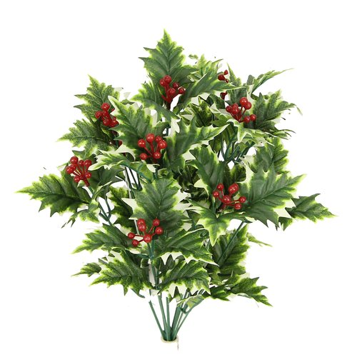 The Holiday Aisle 12 Stems Artificial Holly Leave Berries Floral Arrangement