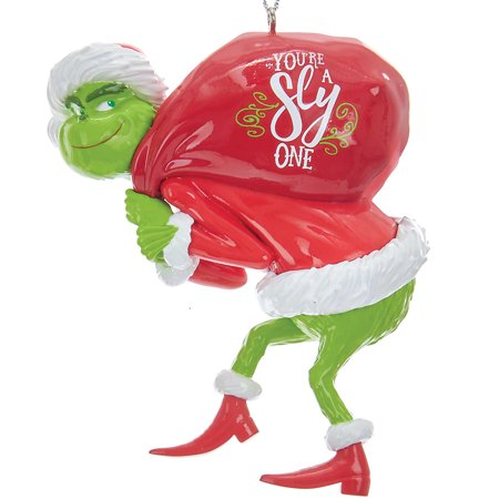 Grinch With Red Sack Christmas Tree Ornament - Dr Suess Holiday Decoration ()