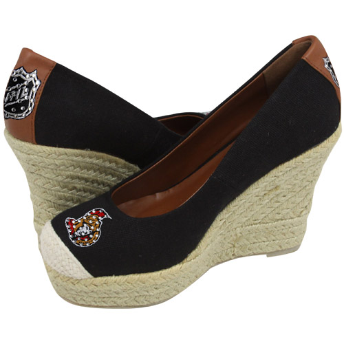 Cuce Shoes Ottawa Senators Women's The Groupie Espadrille Wedge Sandals - Black