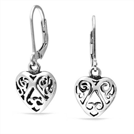Sterling Open Swirl Earring (Open Heart Shaped Filigree Swirl Leverback Dangle Earrings For Women Girlfriend Oxidized 925 Sterling Silver)