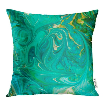 ARHOME Watercolor Artistic Green Blue Abstract Fluid Painting Black Brush Canvas Color Pillow Case Pillow Cover 20x20 inch Throw Pillow Covers ()