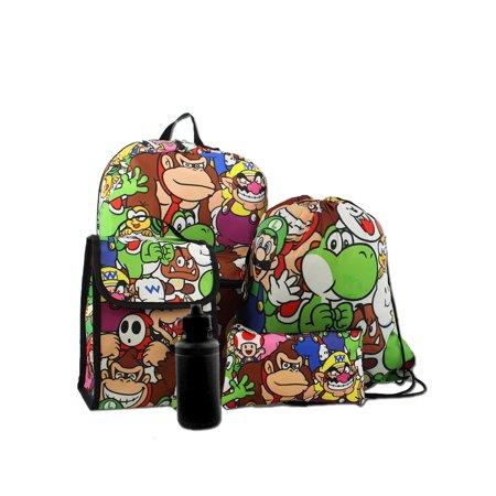 Super Mario Boys Girls 5 Piece Backpack and Snack Bag School Set B18NN37747