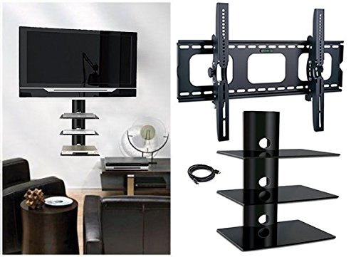 2xhome New TV Wall Mount Bracket with HDMI & Three(3) Triple Shelf Package Secure LED LCD Plasma Smart 3D WiFi... by 2xhome