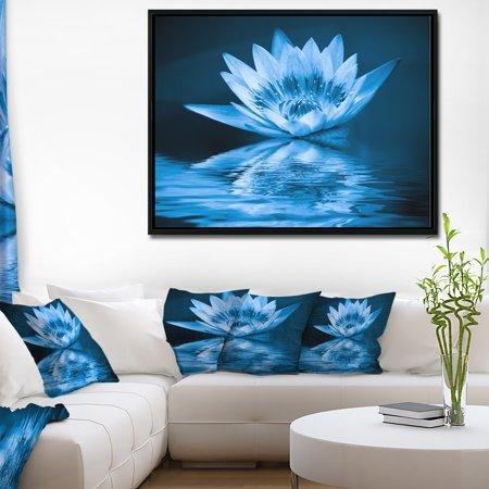 Blue Lilies Design (DESIGN ART Designart 'Blue Water Lily' Floral Art Framed Canvas Print )