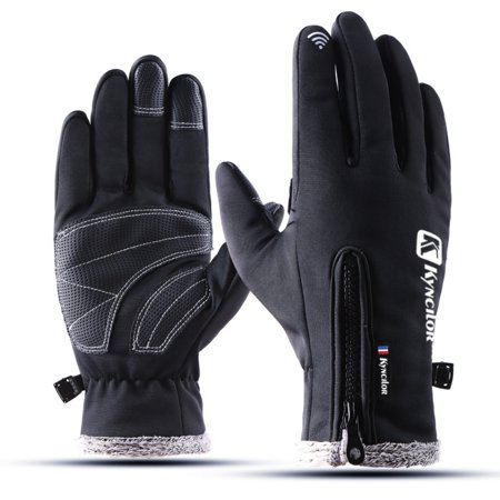 Touch Screen Cycling Gloves Winter Cold Weather Waterproof Thickness Warm Fleece Inner Zippered Adjustable Full Finger Gloves For Ski Snowboard Bike Running
