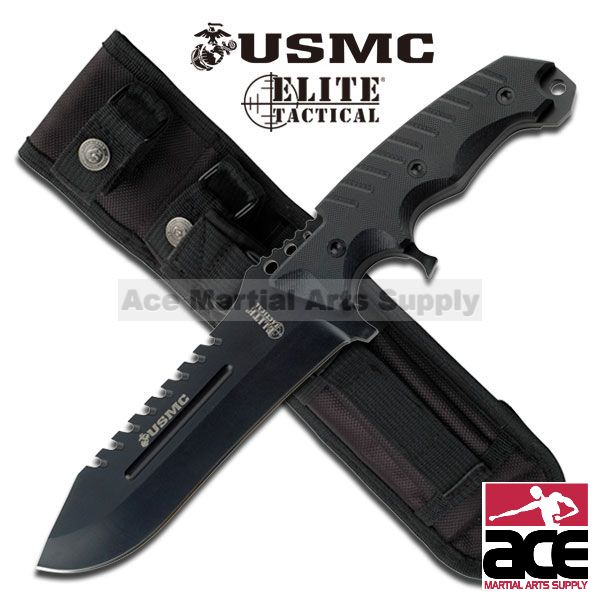"ELITE TACTICAL USMC MARINE CORPS ""FORCE RECON COMMANDER"" LICENSED TACTICAL KNIFE"