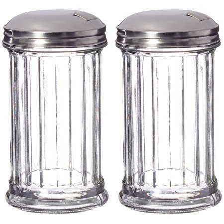 Update International Retro Style Sugar Dispenser/Pourer/Shaker, Glass Jar, Stainless Steel Pour-Flap Lid, 12 oz, Set of 2 (Glass Jar 8 Oz With Lid)