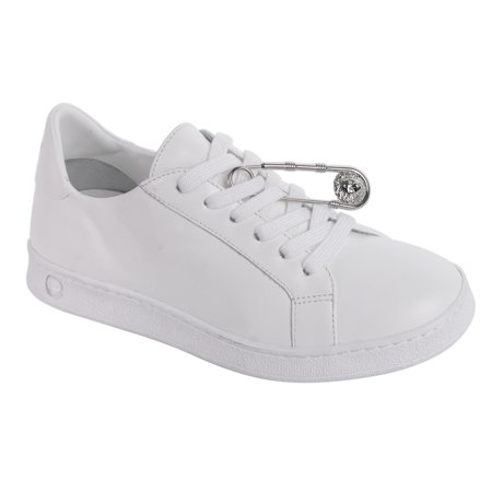 Versus Versace Womens White Leather Safety Pin Lace Up Sneakers