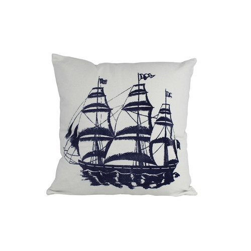 Handcrafted Nautical Decor Tall Ship Nautical Throw Pillow by Handcrafted Model Ships