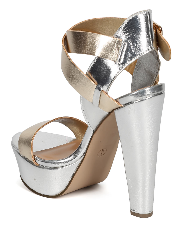 8cfa8f0b09f Breckelles - Breckelles CF97 Women Metallic Open Toe Cross Ankle Strap  Chunky Heel - Walmart.com