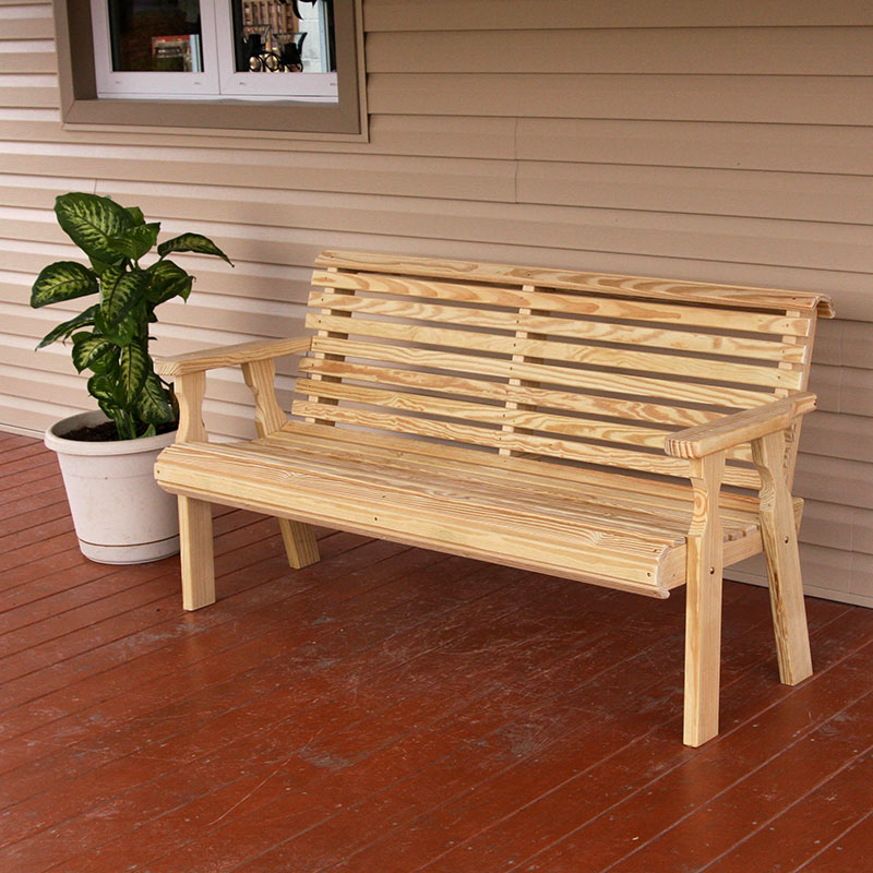 Amish Heavy Duty 800 Lb Roll Back Pressure Treated Garden Bench (4 Foot, Unfinished)