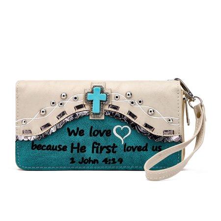 Western Bible Verse Shoulder Bag Wallet Puse Handbag Turquoise (Bible Purse)