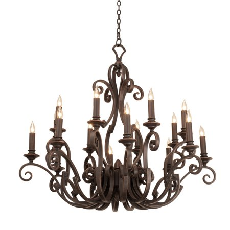 """Chandeliers 16 Light Bulb Fixture With Pearl Silver Finish Hand Forged Iron E12 Light Beige Shade 50"""" 640 Watts"""