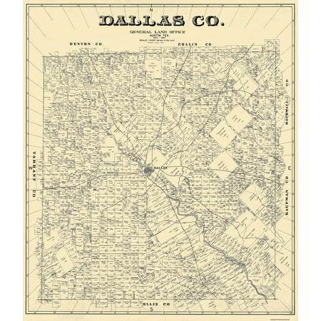 Old County Map - Dallas Texas Landowner - 1884 - 23 x 26.81 ... on