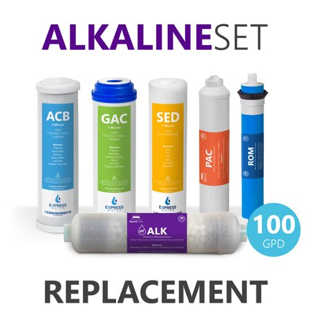 Cleaning Ro Membrane - Express Water – 1 Year Alkaline Reverse Osmosis System Replacement Filter Set – 6 Filters with 100 GPD RO Membrane, Carbon (GAC, ACB, PAC) Filters, Sediment (SED) Filters – 10 inch Size Water Filters