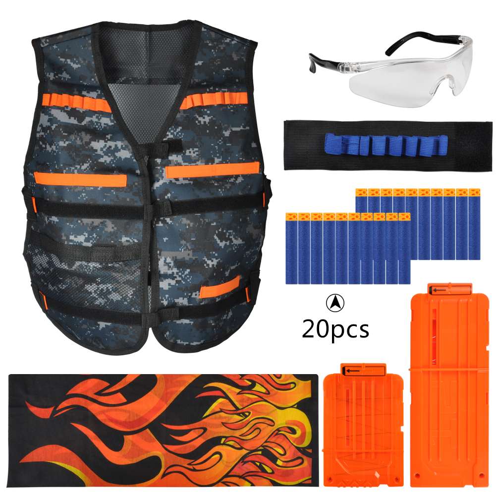 Yosoo Kids Tactical Camouflage Vest Kit for Nerf Guns N-Strike Elite Series, with 20 Pcs Refill Darts, 2 Reload Clips,Wristband,Face Tube Mask and Protective Glasses