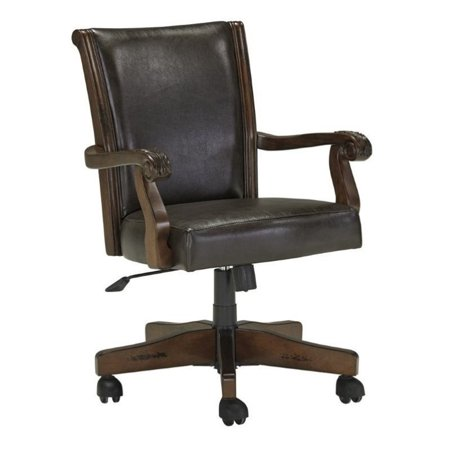 Ashley Alymere Faux Leather Adjustable Swivel Office Chair In Brown Walmart