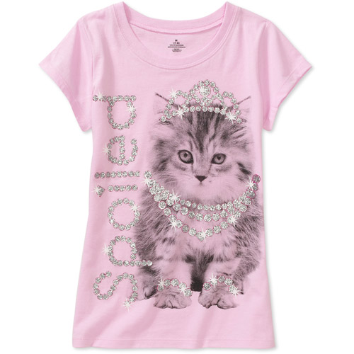 Girls Spoiled Kitty Short Sleeve Graphic Tee