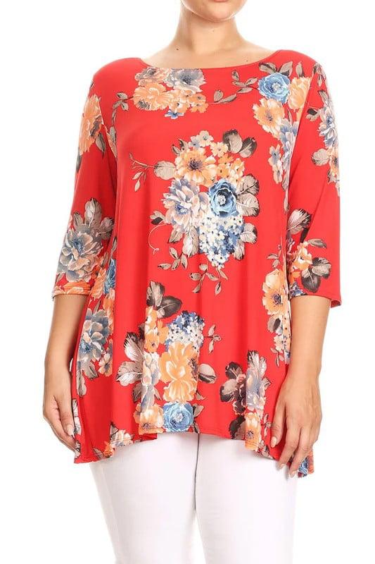 Plus Size Women's Trendy Style 3/4 Sleeves Printed Top