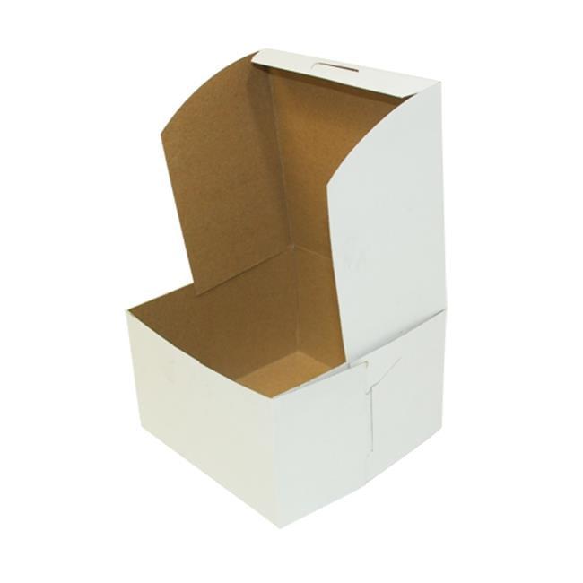 Quality Carton & Converting 6801 CPC Lock Cornor Chipboard Cake Box, White - Case of 250
