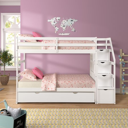 Twin Over Twin Bunk Bed for Kids, 97'' x 42'' x 66'' Space Saving Design Sleeping Bedroom Furniture w/Trundle Solid Wood Bunk Bed, Ladder and Safety Rail for Boys and Girls, White, 200lbs, S0117