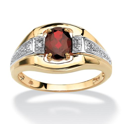 Men's 1.40 TCW Oval-Cut Garnet and Diamond Accent Ring in 18k Gold over Sterling Silver - Size 11